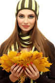 Portrait of young woman with autumn maple leaves, isolated on white — Stock Photo
