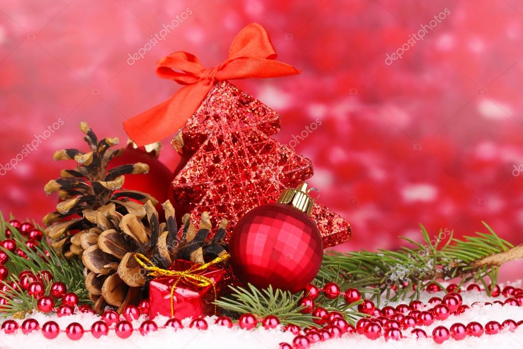 Christmas decoration on red background  Stock Photo #15738653