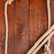 Frame composed of rope on wooden background — Foto Stock