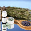 Bottles of medicines and herbs on blue background. concept of homeopathy — Stock Photo #15744505
