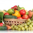 Composition with vegetables and fruits in wicker basket isolated on white — Stock Photo #15746029