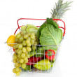 Fresh vegetables and fruits in metal basket isolated on white - Stock Photo