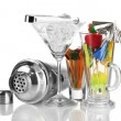 Cocktail shaker and  other bartender equipment isolated on white - Stock Photo