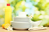 Empty clean plates and cups with dishwashing liquid, flowers and lemon on wooden table on green background — Stock Photo