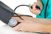 Blood pressure measuring isolated on white — Stock Photo