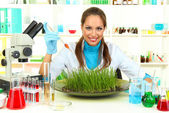 Young female scientist is conducting experiments with plants in laboratory — Stock Photo