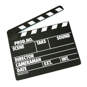Movie production clapper board isolated on white — Stock Photo