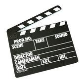 Film üretim clapper tahta üzerinde beyaz izole — Stok fotoğraf