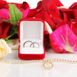 Beautiful box with wedding rings on red, white and pink rose petals background isolated on white - Photo