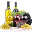 Stock Photo: Bottles and glasses of wine and grapes in basket, isolated on white