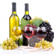 Bottles and glasses of wine and grapes in basket, isolated on white — Stock Photo #15833563