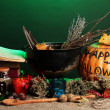 Scary halloween laboratory in green light - Stockfoto