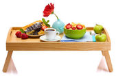 Light breakfast on wooden tray isolated on white — Stock Photo