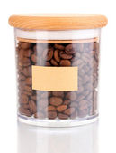 Coffee beans in jar isolated on white — Stock Photo