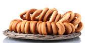 Tasty bagels, isolated on white — Stock Photo
