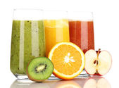 Fresh fruit juices isolated on white — Stock Photo