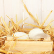 White eggs in a wooden box on straw on white wooden background — Stock Photo