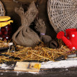 Stock Photo: Mousetrap with a piece of cheese in barn on wooden background