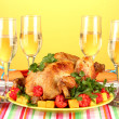 Banquet table with roast chicken on orange background close-up. Thanksgiving Day — Stock Photo #15842179