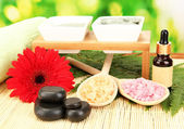 Cosmetic clay for spa treatments on bright green background close-up — 图库照片