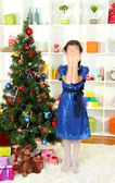 Little girl waiting her christmas gifts — Stock Photo