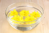 Bowl with yellow flowers on wooden background — Stock Photo