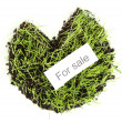 Stock Photo: Green grass with ground as concept of land sale isolated on white