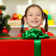 Little girl with large gift box near christmas tree — Stock Photo #15987413