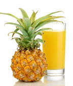 Ripe pineapple and juice glass isolated on white — Stock Photo