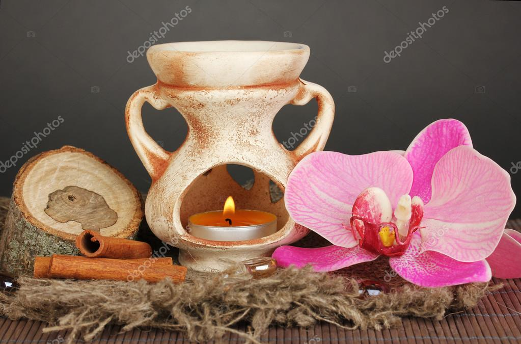 Aromatherapy lamp on grey background — Stock Photo #15992621