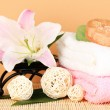 Stock Photo: Beautiful spa setting on beige background