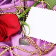 Heart pendant with red rose — Foto de Stock
