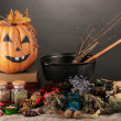 Scary halloween laboratory - Stock Photo