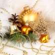 Christmas decoration in white fur - Stock Photo