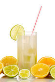 Citrus lemonade in glass of citrus around isolated on white — Stock Photo