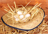 Eco-friendly eggs in hat on wooden background — Stock Photo