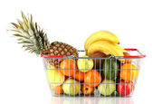 Fresh fruit in metal basket isolated on white background — Stock Photo
