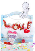 Beautiful decorative composition on Love isolated on white — Stock Photo