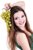Beautiful woman with grape isolated on white — 图库照片