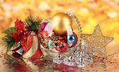 Christmas decoration on golden background — Stock Photo