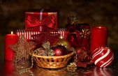 Christmas decoration and gift boxes on dark background — Stock Photo