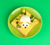 Fun food for kids on color background — Stock Photo