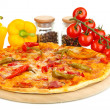 Tasty pepperoni pizza with vegetables on wooden board isolated on white — Stock Photo #16235411