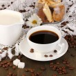 A cup of strong coffee and sweet cream on wooden table close-up — Stock Photo #16235983