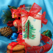 Cookies for Santa: Conceptual image of ginger cookies, milk and christmas decoration on blue background — Stock Photo #16236367