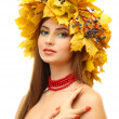 Beautiful young woman with yellow autumn wreath, isolated on white — Stock Photo #16236773