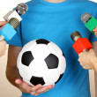 Conference meeting microphones and footballer — Stock Photo #16237859