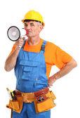 Superintendente de construcción dirige reparación aislada en primer plano blanco — Foto de Stock