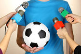 Conference meeting microphones and footballer — Fotografia Stock