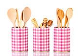 Utensils in metal containers isolated on white — Stock Photo